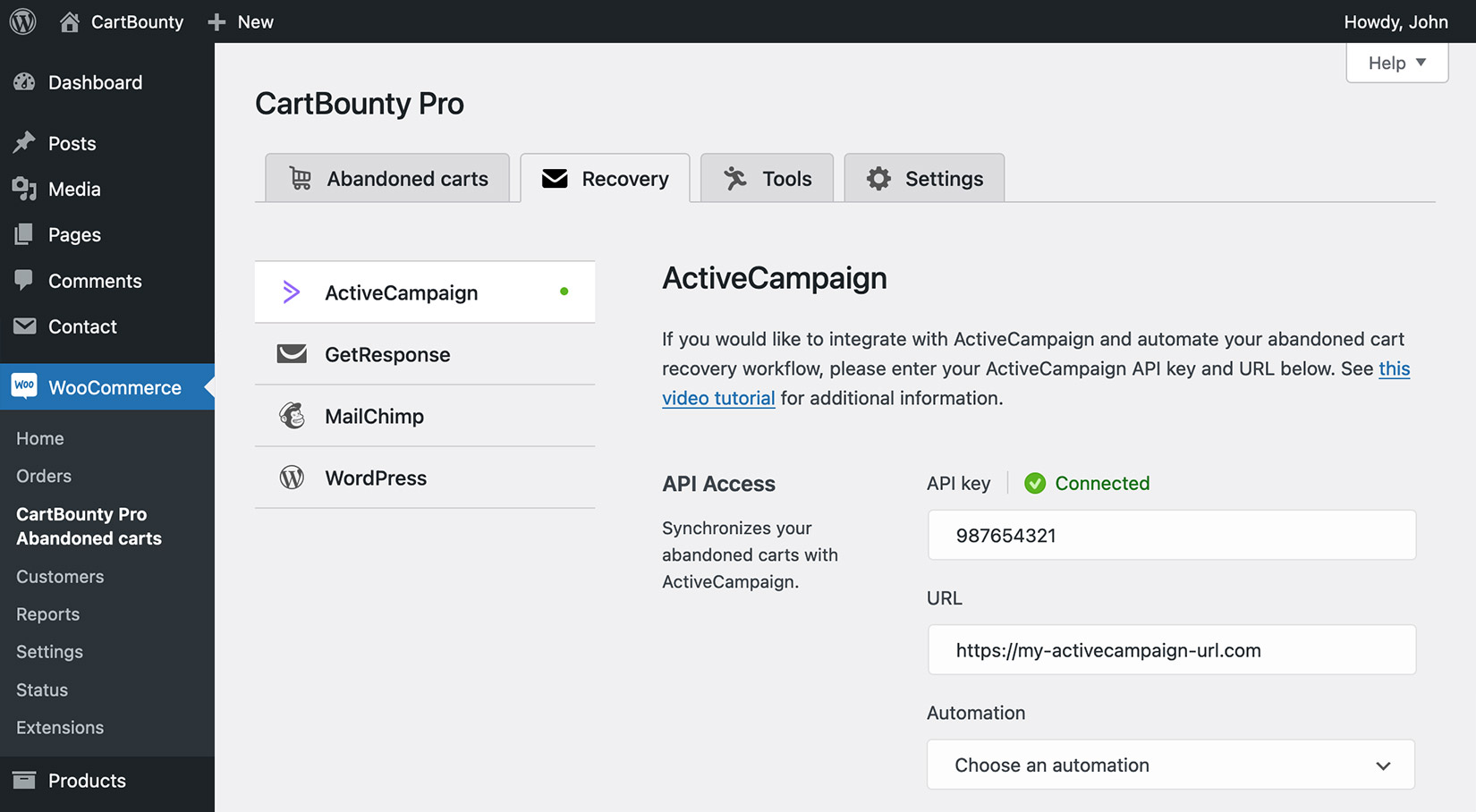 Successful integration with ActiveCampaign