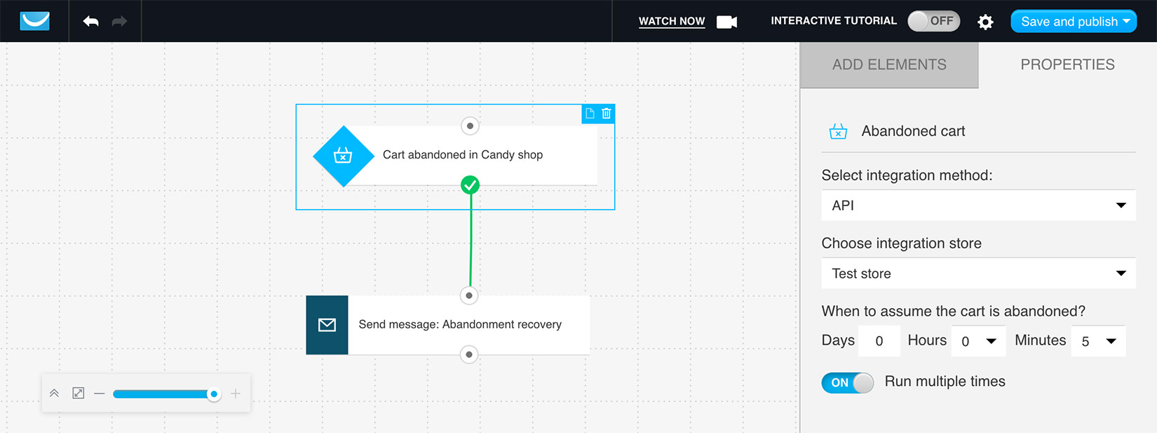 Abandoned cart recovery automation example in GetResponse