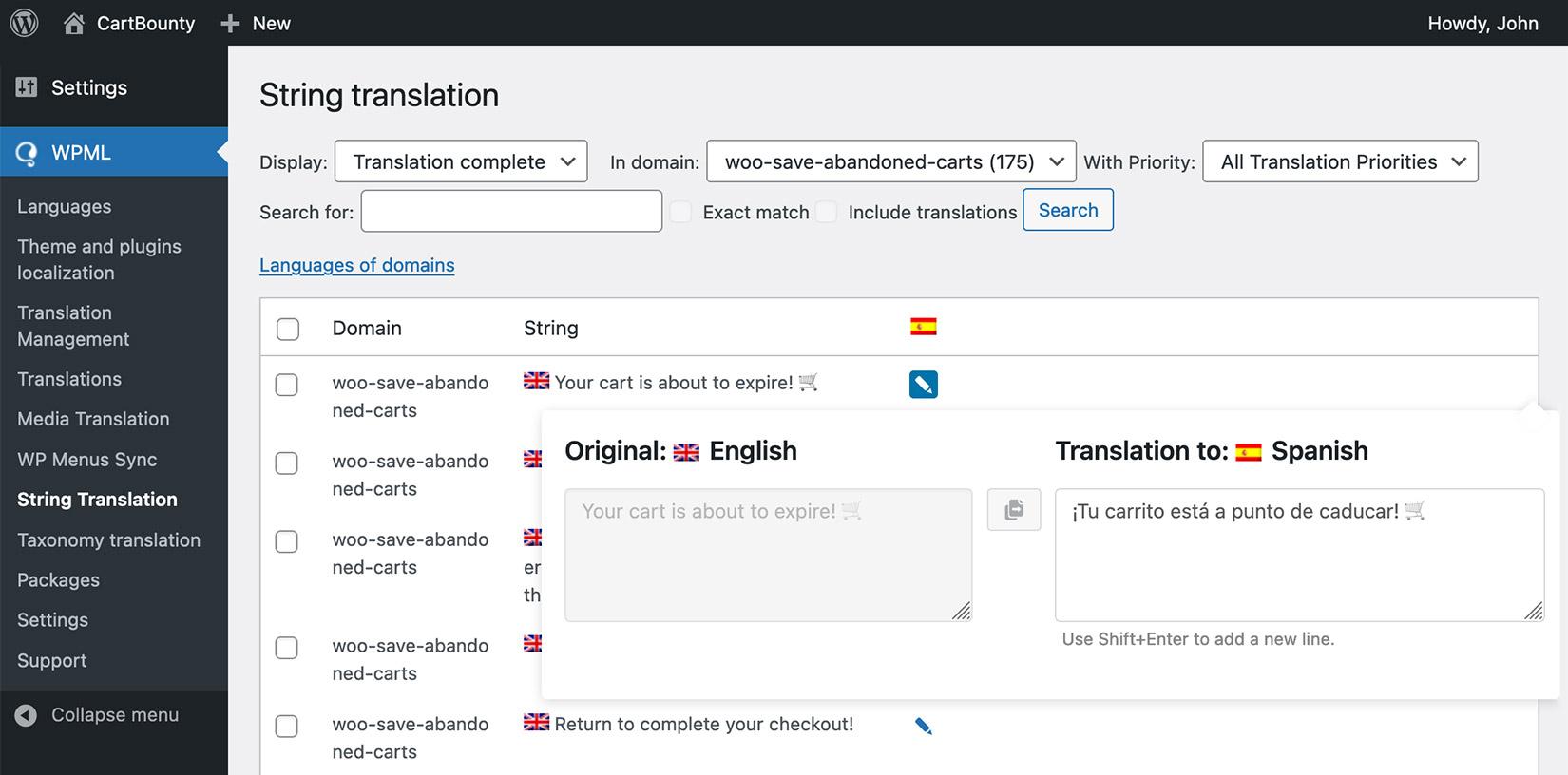 Translation management in WPML