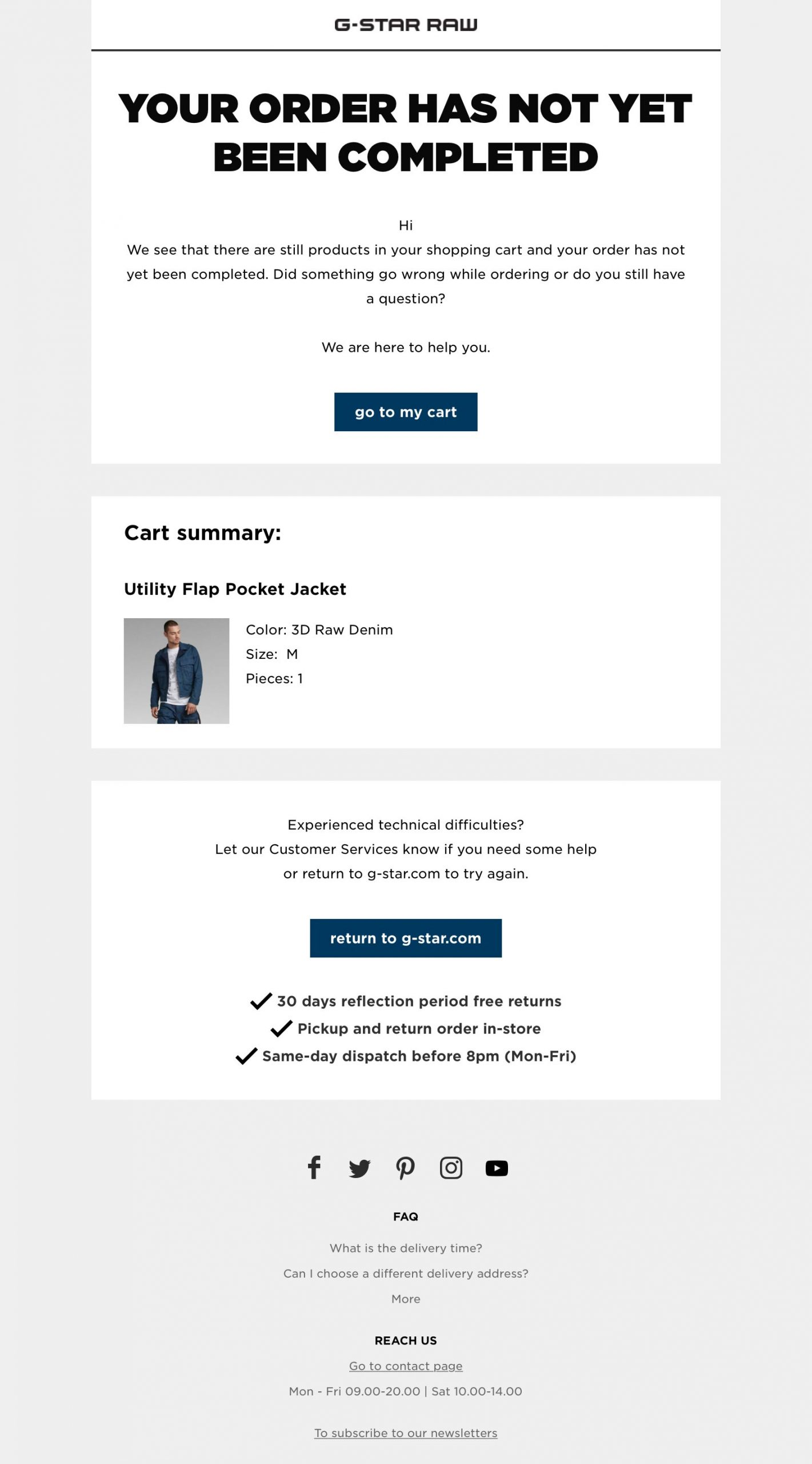 First abandoned cart recovery email. G-Star RAW