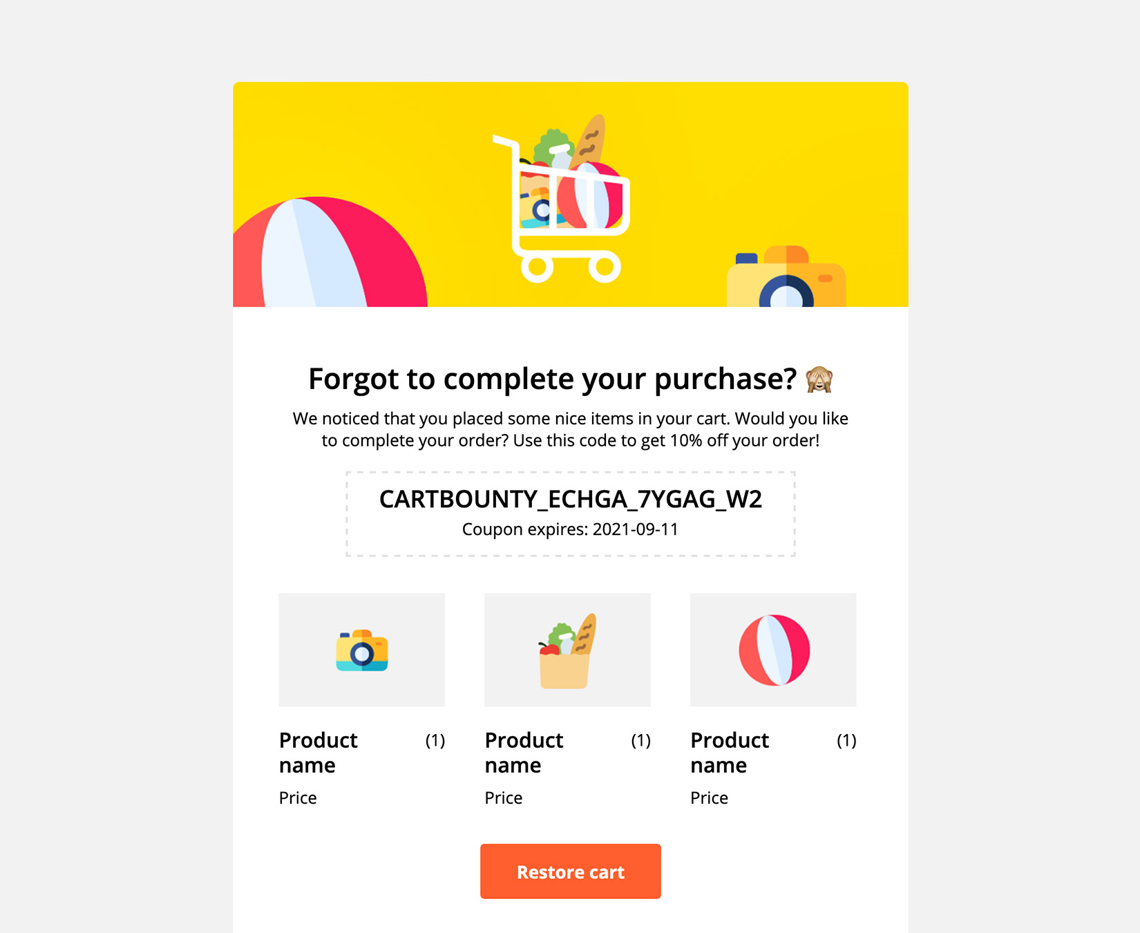 Preview of a generated coupon code inside an abandoned cart reminder email