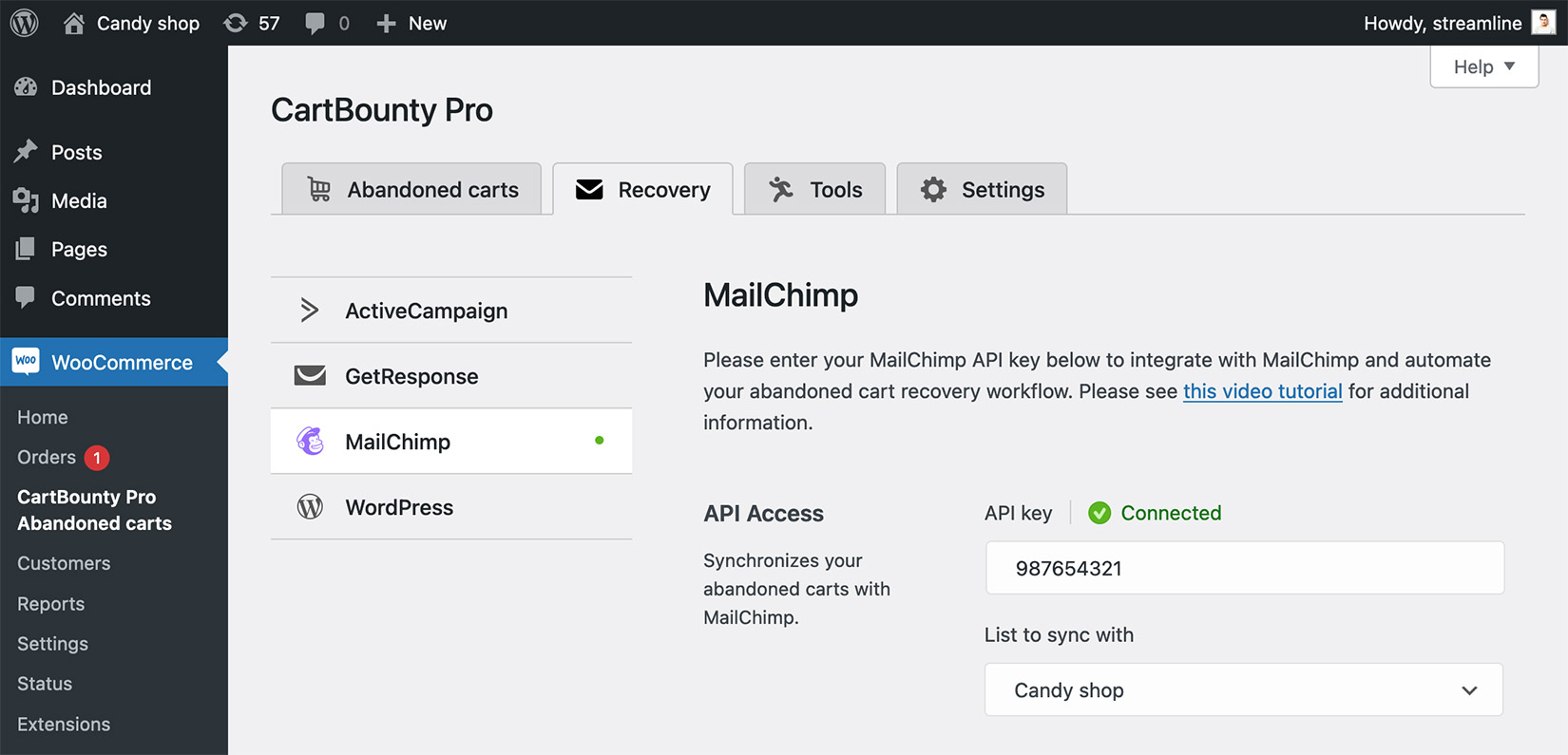 Successful integration with MailChimp