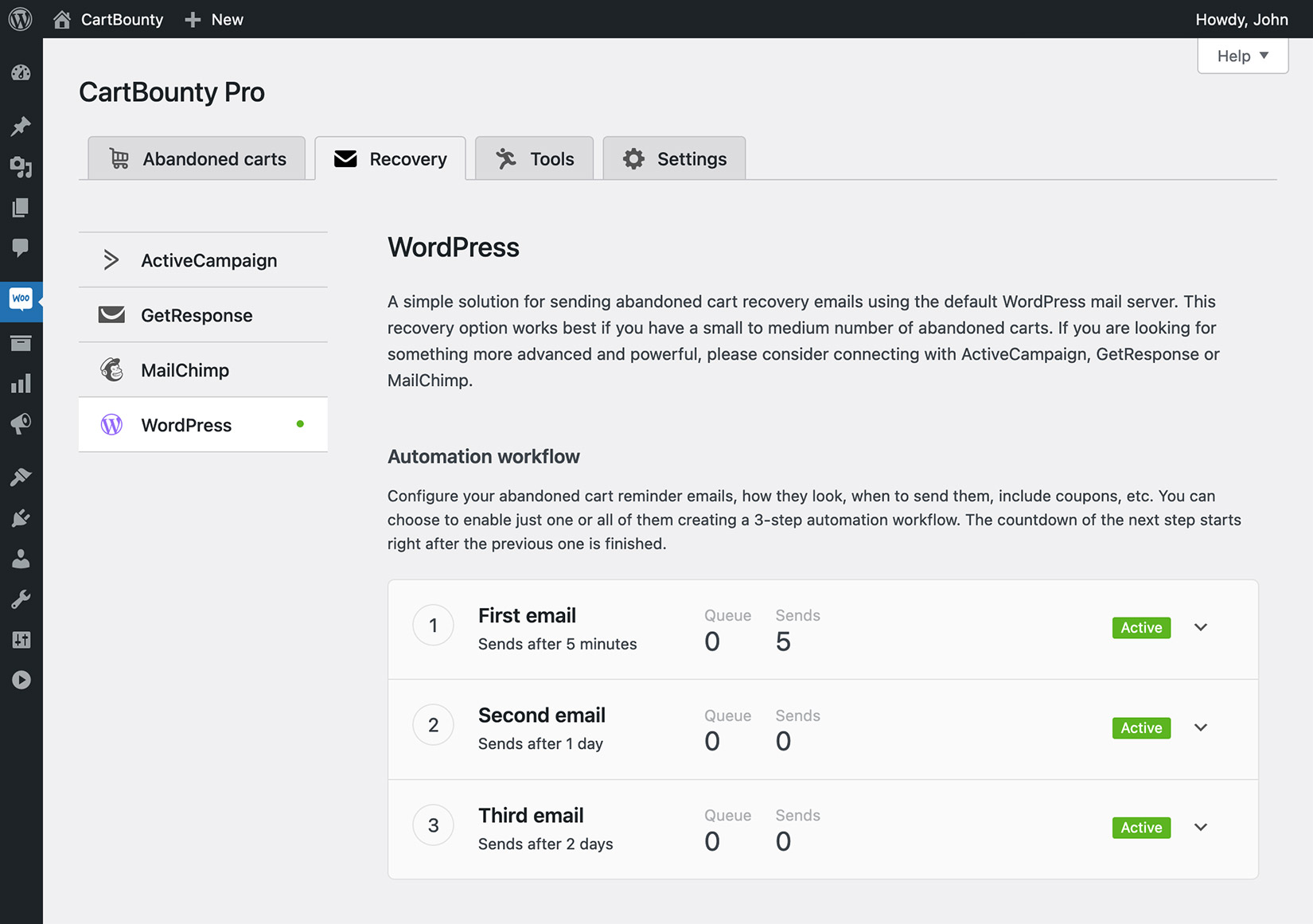 3-step automation workflow enabled using WordPress abandoned cart recovery
